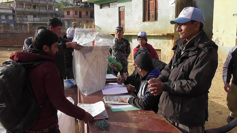 The ballot boxes with votes from rural parts being handed over to the Office of Chief Returning officer, in Phidim, the panchthar district headquarters, on Monday, November 27, 2017. Photo: Laxmi Gautam/THT