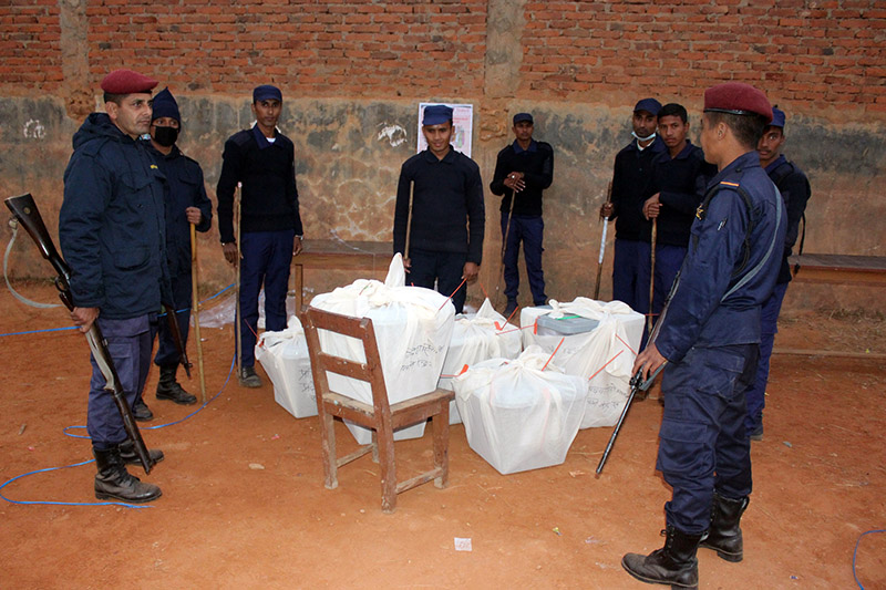 Security personnel preparing to take the ballot boxes to the Gorkha, district headquarters, on Sunday, November 26, 2017. Photo: RSS