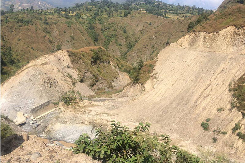 A new landfill site, Banchare Danda bordering Dhading and Nuwakot district, for dumping waste collected in Kathmandu, on Thursday, November 02, 2017. Photo: RSS