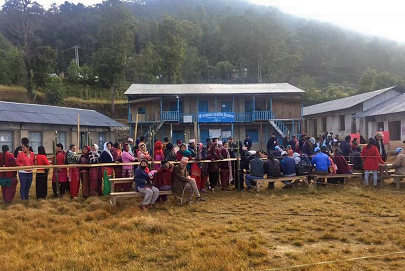 Voters in line to cast their votes in Bhojpur district, on Sunday, November 26, 2017. Photo: Niroj Koirala