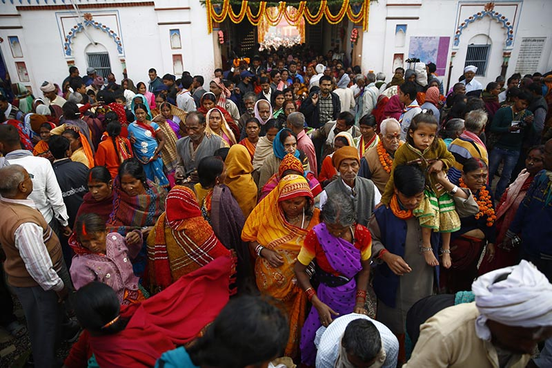 Devotees thronging to offer prayers during the marriage anniversary of Janaki (Sita) and Lord Ram the Bibaha Panchami at Janaki Temple in Janakpur, 400km southeast from Kathmandu, on Thursday, November 23, 2017. The decorated Janaki Temple is crowded with hundreds of thousands of pilgrims from across Nepal and neighbouring India. Photo: Skanda Gautam