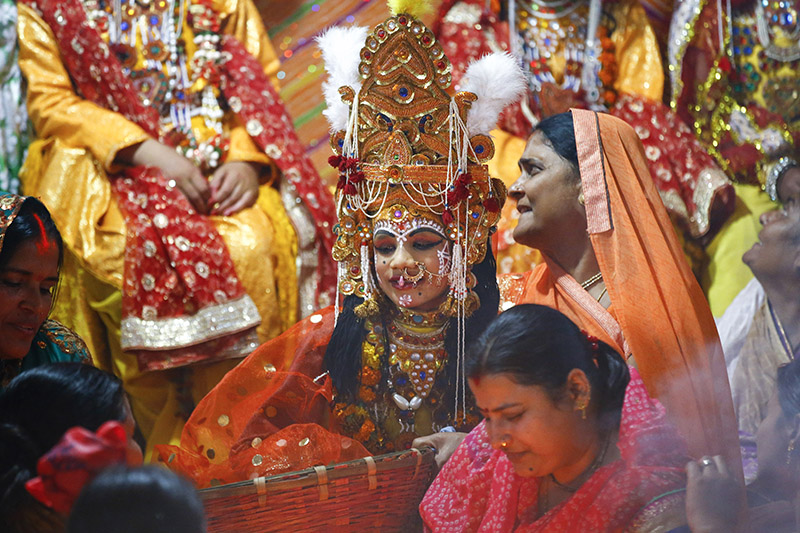 A person dressed as Lord Ram takes part in prayer rituals ahead of the marriage anniversary of Lord Ram and Sita during Bibaha Panchami at Janaki Temple in Janakpur, on Wednesday, November 22, 2017. Photo: Skanda Gautam