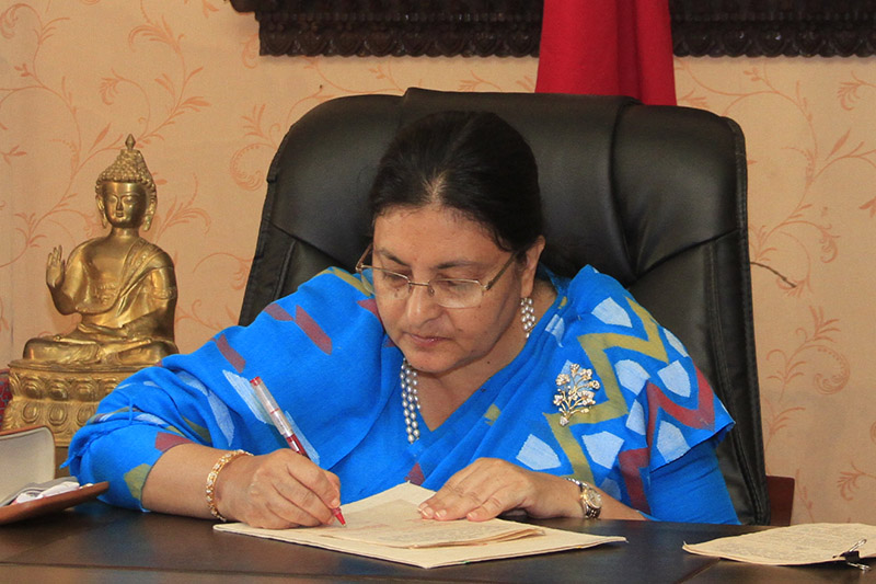 President Bidya Devi Bhandari enacts Medical Education Ordinance at Sheetal Niwas, in Kathmandu, on Friday, November 10, 2017. Courtesy: President's Office