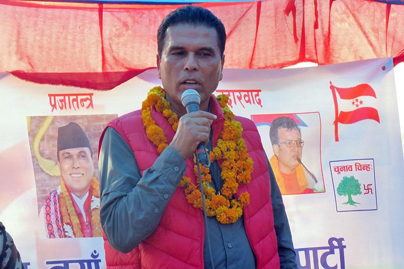 Minister for Forest and Soil Conservation Bikram Pandey speaking at a programme in Chitwan, on Thursday, November 16, 2017. Photo: Tilak Ram Rimal