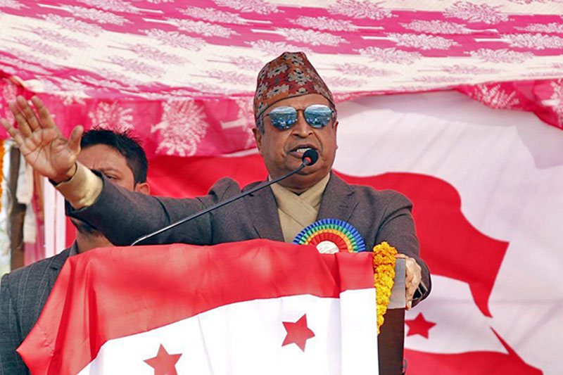 Nepali Congress candidate for upcoming polls Binod Chaudhary addresses an election rally in Kapilvastu district, on Tuesday, November 28, 2017. Courtesy: NC
