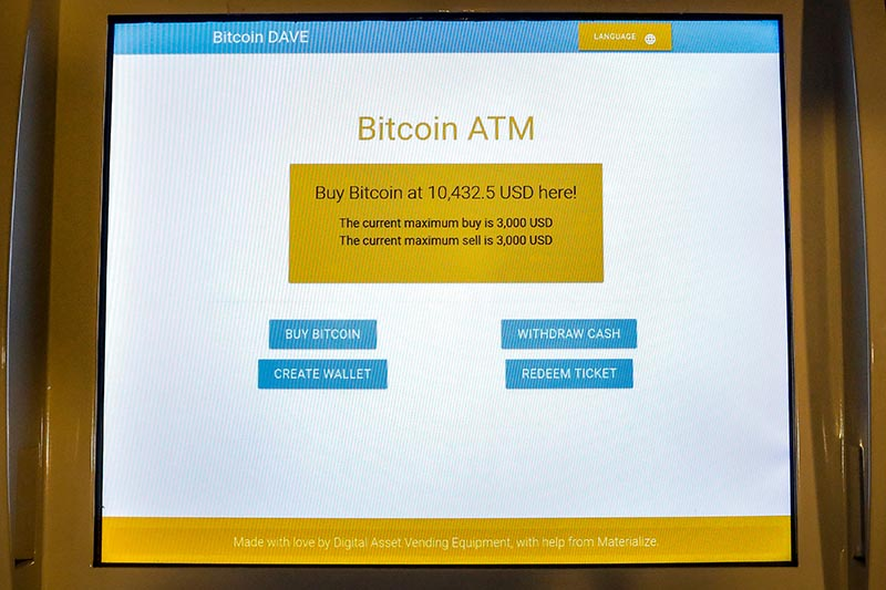 A screen displays the price to purchase Bitcoin at a Bitcoin ATM at the Bitcoin Center NYC in New York City, US, on November 27, 2017. Photo: Reuters