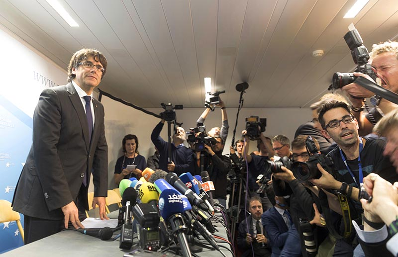 Sacked Catalonian President Carles Puigdemont looks on after a press conference in Brussels, on Tuesday, October 31, 2017. Photo: AP