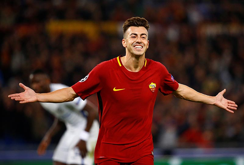 AS Roma's Stephan El Shaarawy celebrates scoring their second goal during the Champions League match between A.S. Roma and Chelsea, at Stadio Olimpico, in Roma, Italy, on October 31, 2017. Photo: Reuters