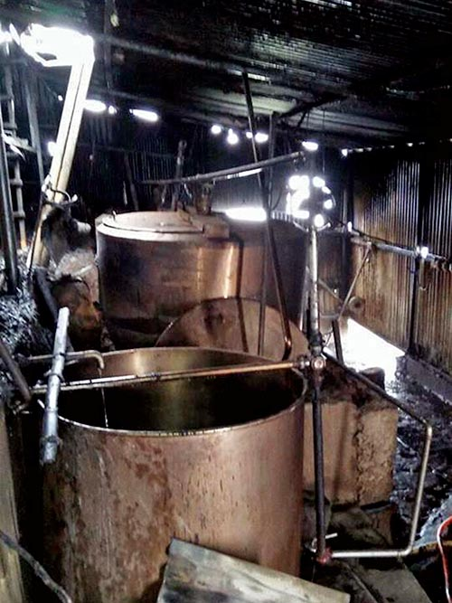 Interior of the dairy factory that was destroyed in a fire in Harkate of Suryodaya Municipality-6 of Ilam as pictured on Wednesday, November 29, 2017. Photo: RSS