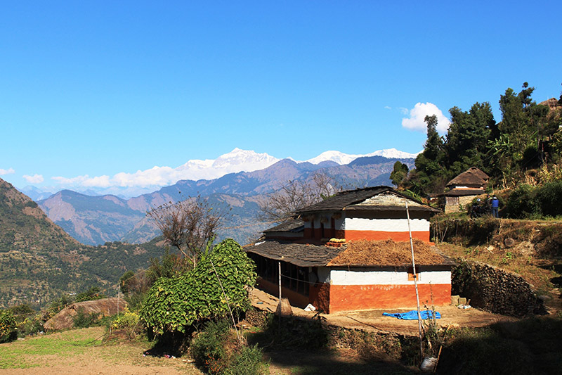 A spectacular view of Dhaulagiri and Gurja mountain as seen from Vakimle Chapare Village in Beni Municipality-3 in Myagdi district, on Thursday, November 09, 2017. Photo: RSS