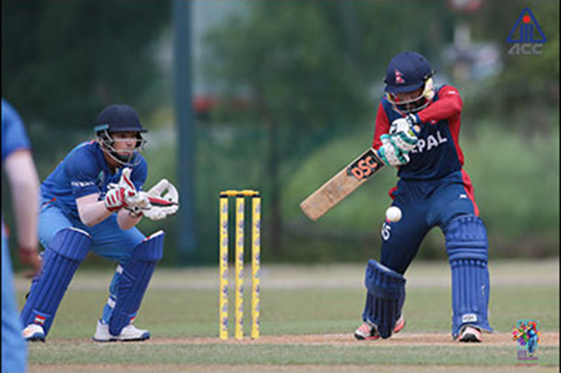 Nepal's U-19 Skipper Dipendra Singh Airee plays a shot against India during the ACC U-19 Asia Cup in Malaysia, on Sunday, November 12, 2017. Courtesy: ACC