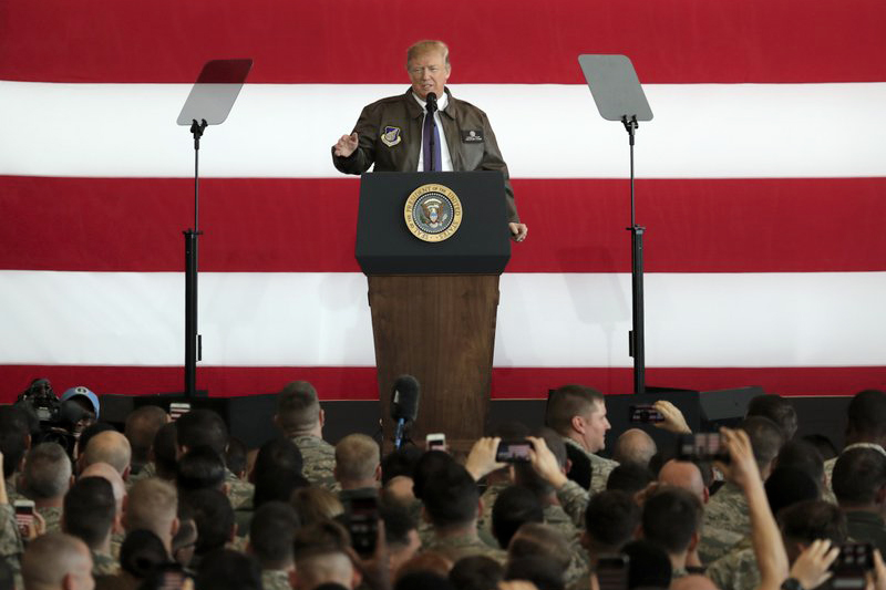US President Donald Trump addresses the US troops at the US Yokota Air Base, on the outskirts of Tokyo, Sunday, Nov. 5, 2017. President Trump arrived in Japan Sunday on a five-nation trip to Asia, his second extended foreign trip since taking office and his first to Asia. The trip will take him to Japan, South Korea, China, Vietnam and Philippines for summits of the Asia-Pacific Economic Cooperation (APEC) and the Association of Southeast Asian Nations (ASEAN). Photo: AP