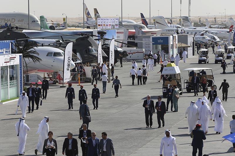 People visit an airshow in Dubai, United Arab Emirates, on Wednesday, November 15, 2017. Photo: AP