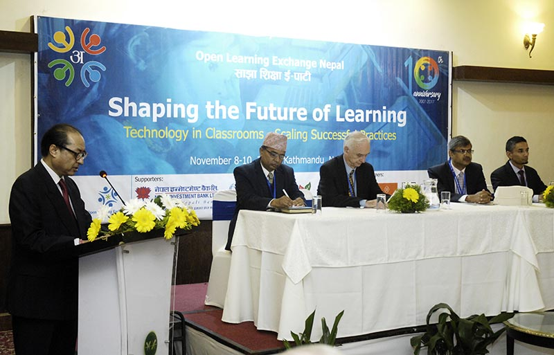 Prithivi Pande (left), chairperson of OLE Nepal,  speaking at EdTech Conference, in Kathmandu on Wednesday, November 8, 2017. Photo: THT