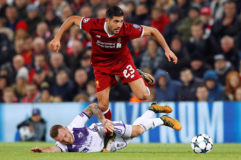 Liverpool's Emre Can in action with NK Mariboru2019s Dino Hotic. Photo: Reuters