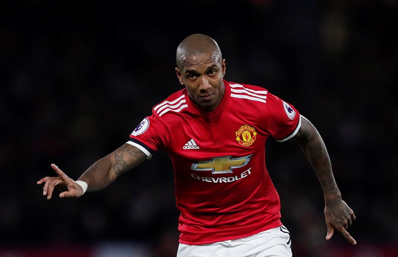 Manchester United's Ashley Young celebrates scoring their second goal during the Premier League match between Watford and Manchester United, at Vicarage Road, in Watford, Britain, on November 28, 2017. Photo: Action Images via Reuters