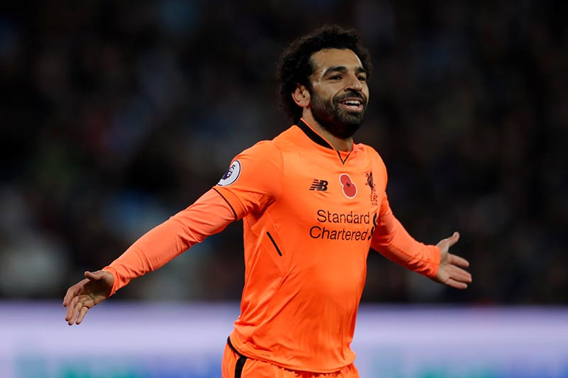 Liverpool's Mohamed Salah celebrates scoring their first goal during the Premier League match between West Ham United and Liverpool, at London Stadium, in London, Britain, on November4, 2017. Photo: Action Images via Reuters