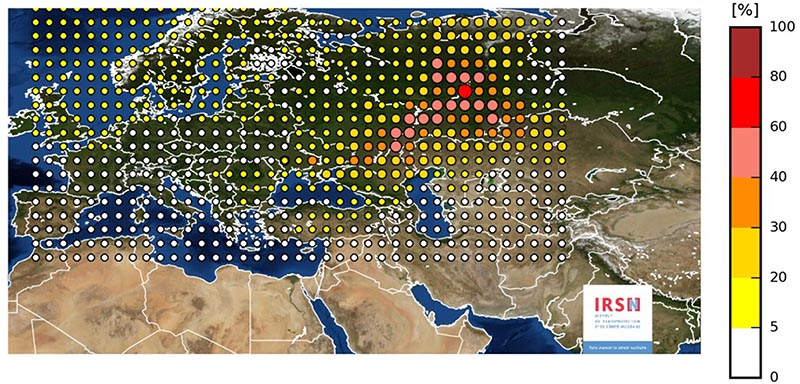 This photo provided on Friday November 10, 2017 by the INRS, Institute for Radiological Protection and Nuclear Safety, shows a map of the detection of Ruthenium 106 in France and Europe. Photo: INRS via AP