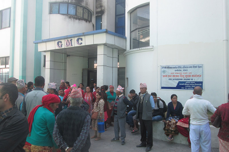 Gandaki Medical College, tense after patient collapsed during treatment, in Pokhara, on Friday, November 03, 2017. Photo: Rishi Ram Baral