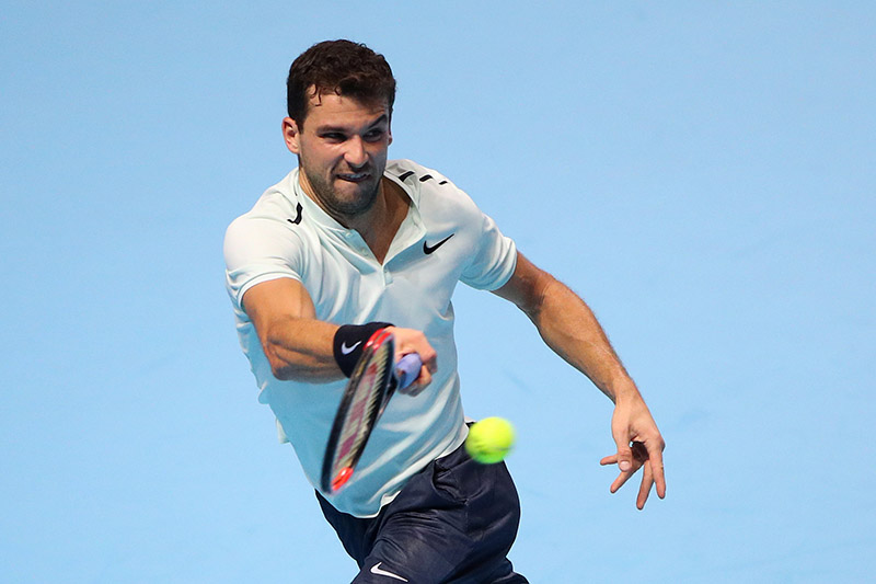 Bulgaria's Grigor Dimitrov in action during his group stage match against Belgium's David Goffin. Photo: Reuters