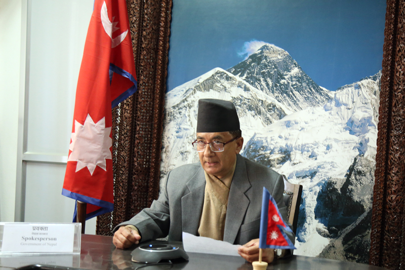 Minister for Finance Gyanendra Bahadur Karki informs media about the decision made by the Cabinet in Sinhadarbar, Kathmandu, on Wednesday, November 22, 2017. Photo: RSS