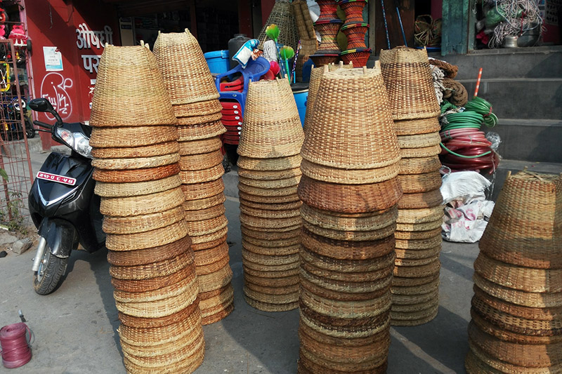 Handmade wicker baskets of bamboo being put on sale at roadside stall in Pokhara Lekhnath Metropolitan City, on Thursday, November 30, 2017. Photo: RSS
