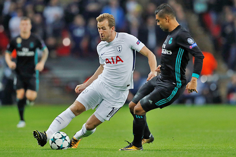 Tottenham's Harry Kane in action with Real Madridu2019s Casemiro. Photo: Reuters