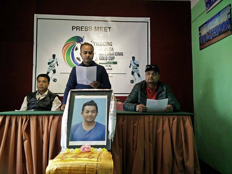 Tournament coordinator of the Hetauda Gold Cup, Bishal Ghosh speaks during a press meet in Kathmandu on Wednesday, on November 15, 2017. Photo:THT