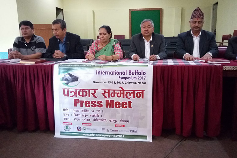 A press meet being organised for the International Buffalo Symposium 2017 to be held in Chitwan, on Sunday, November 05, 2017. Photo: Tilak Ram Rimal
