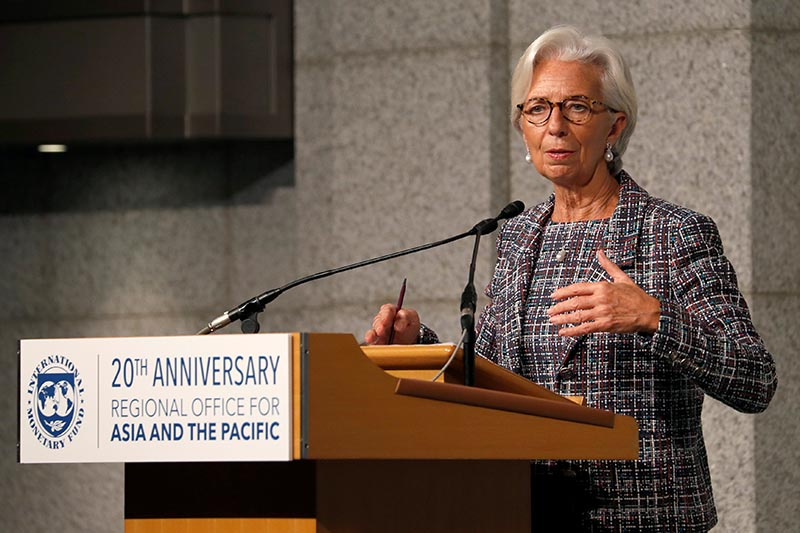 International Monetary Fund (IMF) Managing Director Christine Lagarde attends a seminar to mark 20th anniversary of the launch of IMF's Asia-Pacific Office, in Tokyo, Japan,  November 8, 2017.   Photo: Reuters