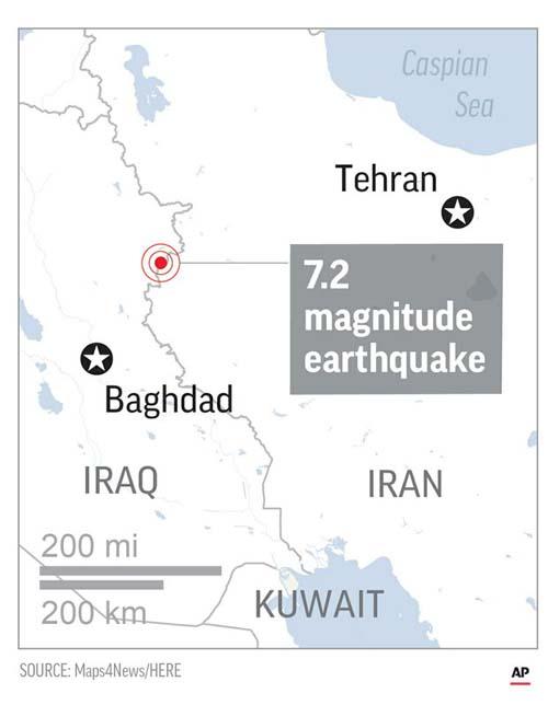 Map locates Epicenter of quake.. Photo: AP