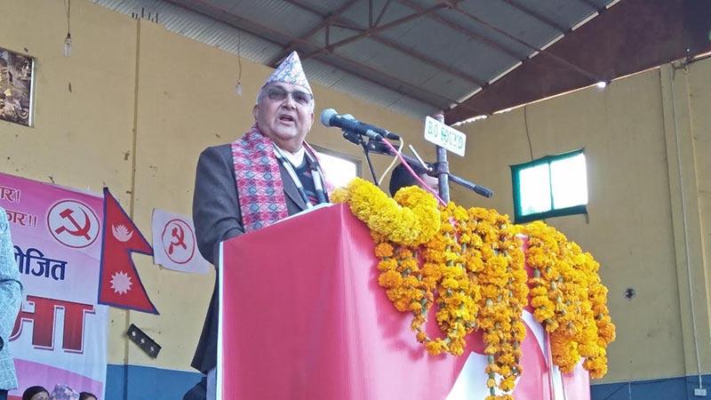 CPN-UML Chairman KP Sharma Oli addressing an election mass meet in Lamjung, on Wednesday, November 15, 2017. Photo: THT