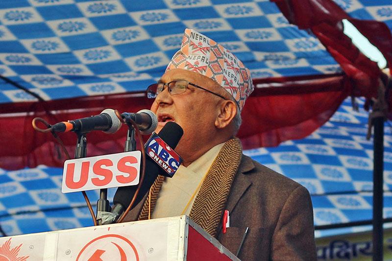 UML Chairperson KP Sharma Oli addressing an election rally in Chitwan, on Tuesday, November 21, 2017. Photo: Tilak Ram Rimal