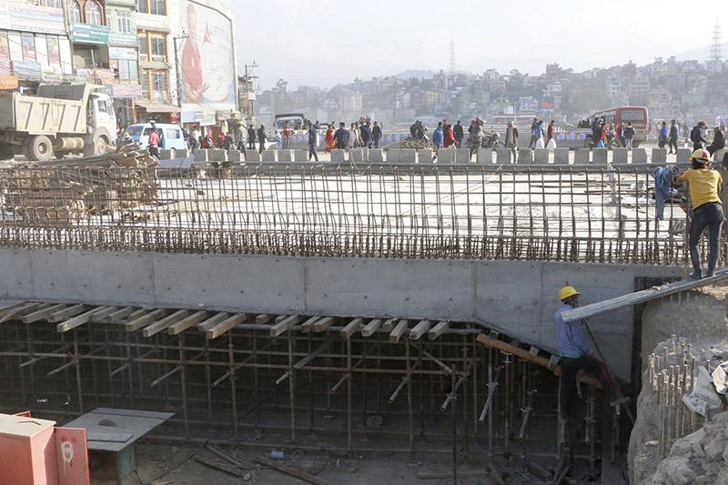 Workers constructing underpass at Kalanki, in Kathmandu, on Thursday, November 30, 2017. Photo: RSS