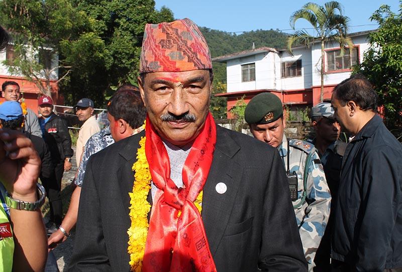 Ratriya Prajatantra Party Chairperson Kamal Thapa In Makawanpur district, on Monday, November 13, 2017. Photo: THT