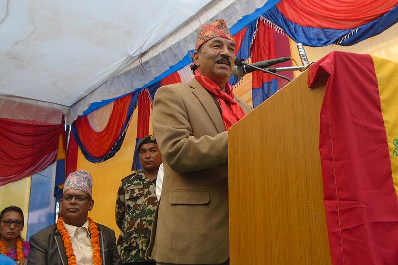 Rastriya Prajatantra Party Chairman Kamal Thapa addresses an election meet in Pokhara, on Thursday, November 23, 2017. Photo: RSS