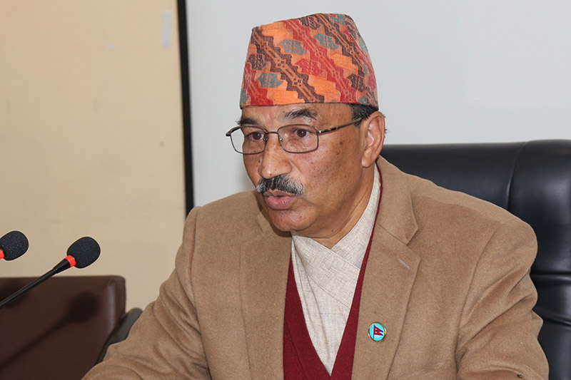 DPM and Minister for Energy Kamal Thapa speaks to media after a meeting of the Council of Ministers at Singha Durbar, Kathmandu, on Friday, November 24, 2017. Photo: RSS