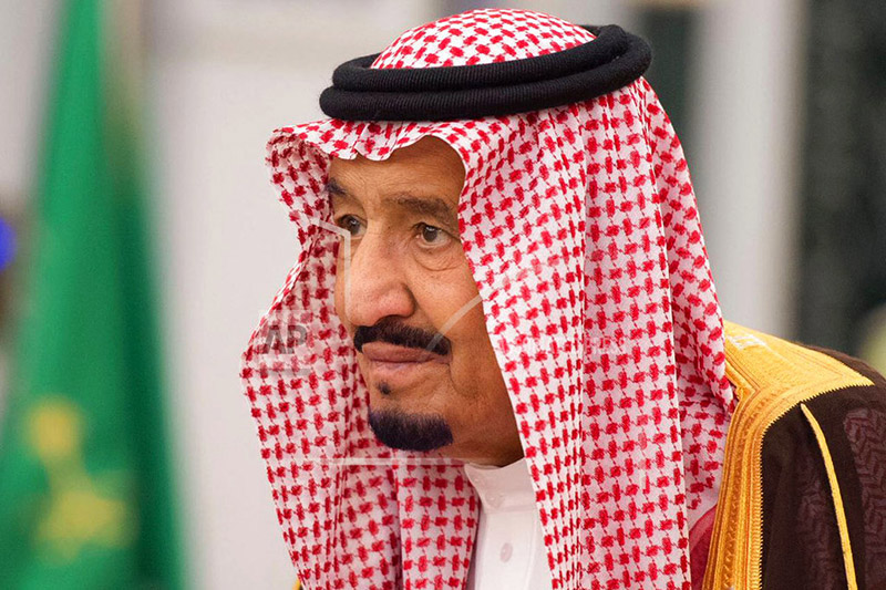 In this photo provided by the Saudi Press Agency, King Salman attends a swearing in ceremony in Riyadh, Saudi Arabia, Monday, Nov. 6, 2017. Photo: Reuters