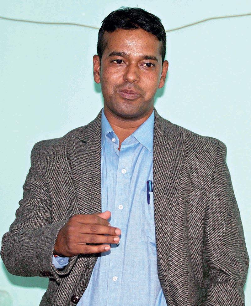 Former national football team member Kumar Thapa gestures during a press meet in Kathmandu on Tuesday. Photo: THT