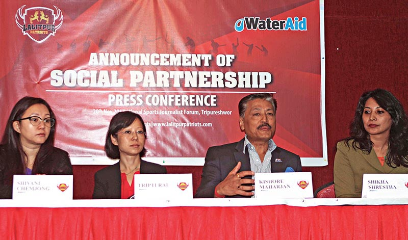 President of Lalitpur Patriots Kishore Maharjan speaks as Water Aid officials look on during a press meet in Lalitpur on Monday. Photo: THT