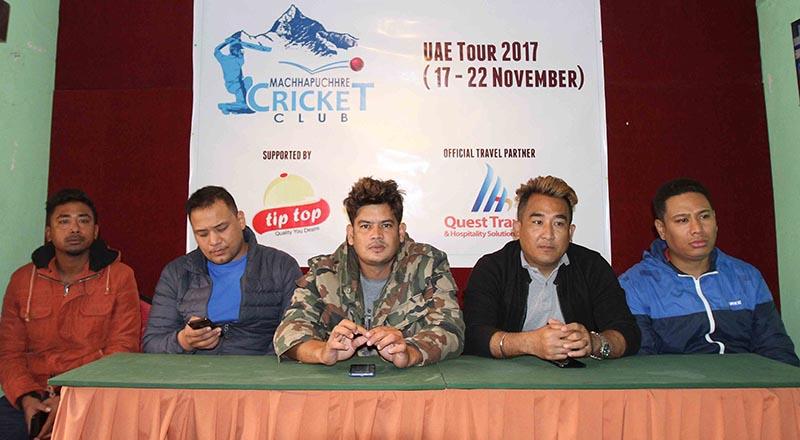 Skipper of Machhapuchhre Cricket Club Dipesh Khatri (second from left) gestures during a press meet in Kathmandu on Friday, November 17, 2017. Photo: THT