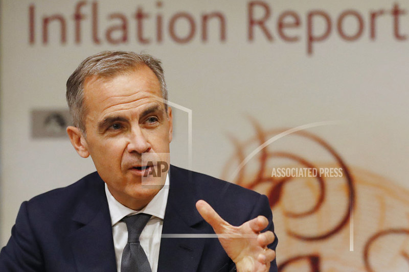 FILE - A Thursday, Aug. 3, 2017 file photo, Bank of England Governor Mark Carney, addresses the media during a press conference to deliver the quarterly inflation report in London. Photo: AP