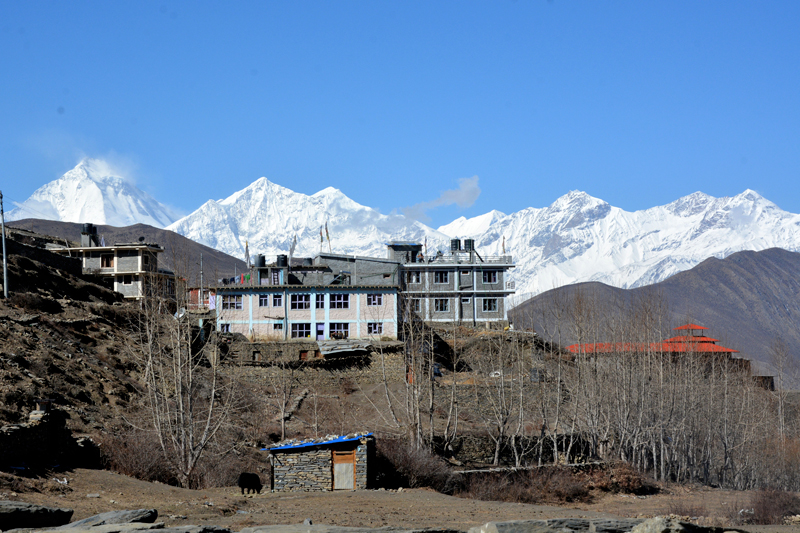 A memerising view with a mountain seen on the backdrop as captured from Muktinath in Mustang district, on Wednesday, November 01, 2017. Photo: RSS
