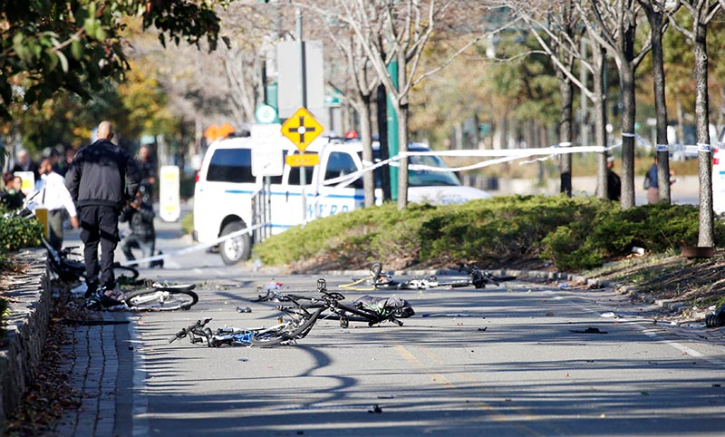 Multiple bikes are crushed along a bike path in lower Manhattan in New York, NY, US, on October 31, 2017.  Photo: Reuters