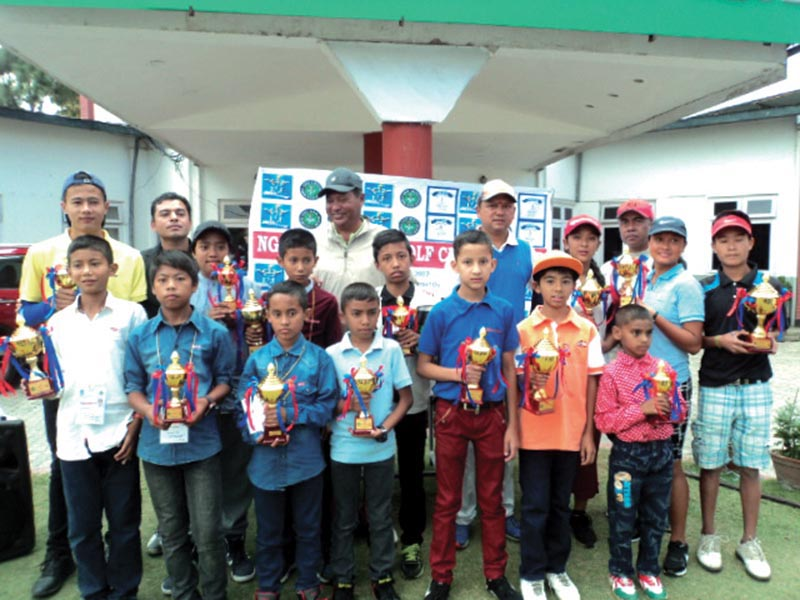 Winners of the NGA-CMS Junior Golf Championship with officials at the Royal Nepal Golf Club in Kathmandu on Saturday.