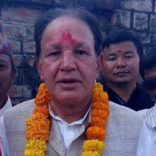 Nepali Congress central member and former urban development minister Narayan Khadka in Udayapur district, on Tuesday, November 14, 2017. Photo: THT