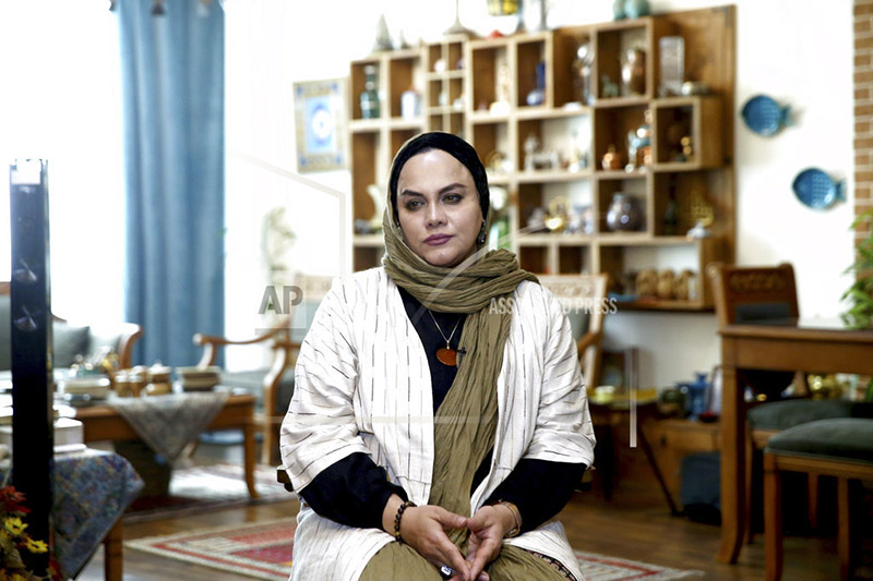 In this Saturday, Oct. 21, 2017 photo, Iranian film director Narges Abyar gives an interview to The Associated Press at her home, in Tehran, Iran. Photo: AP