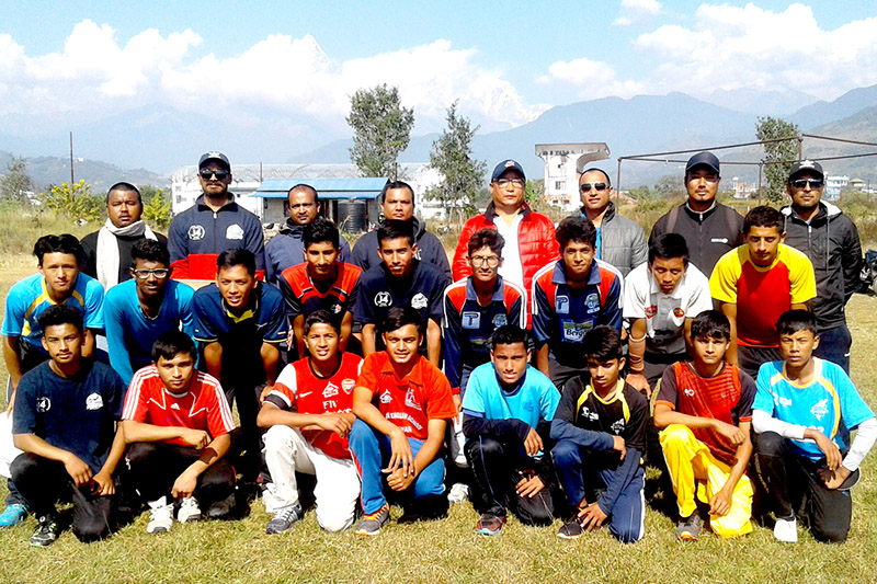 Nepal U-16 cricket team along with officials pose for a portrait in Kathmandu, on Monday, November 20, 2017. Photo: RSS