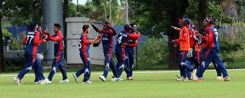 Nepal U-19 cricket team players celebrate after beating India in their Group A match of the ACC U-19 Youth Asia Cup, in Kuala Lumpur, on Sunday, November 12, 2017. Photo courtesy: NSJF