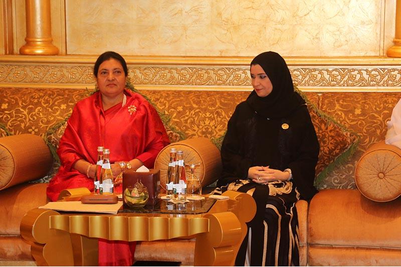 Speaker of the Federal National Council of the UAE Dr Amal Al Quibaisi (right) pays a courtesy call on President Bidya Devi Bhandari in Abu Dhabi, United Arab Emirates (UAE) on Tuesday, November 14, 2017. Photo: RSS